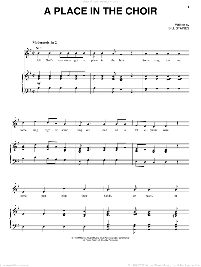 A Place In The Choir sheet music for voice, piano or guitar by Celtic Thunder and Bill Staines, intermediate skill level