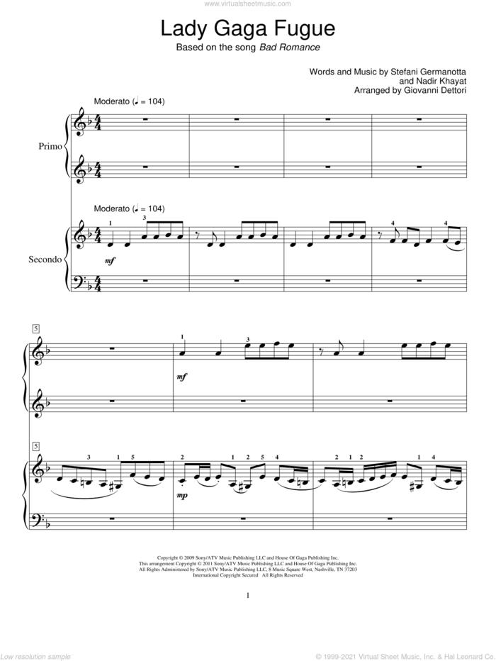 Lady Gaga Fugue sheet music for piano four hands by Giovanni Dettori, Lady Gaga and Nadir Khayat, intermediate skill level