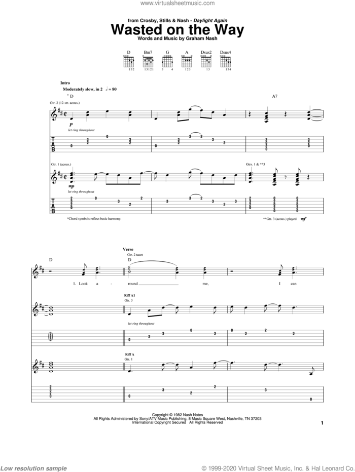 Wasted On The Way sheet music for guitar (tablature) by Crosby, Stills & Nash and Graham Nash, intermediate skill level