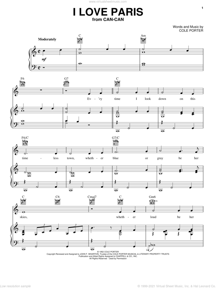 I Love Paris sheet music for voice, piano or guitar by Cole Porter, intermediate skill level