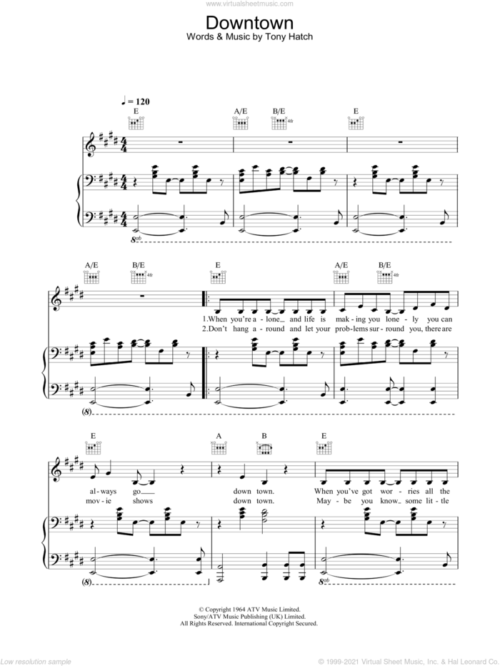 Downtown sheet music for voice, piano or guitar by Petula Clark and Tony Hatch, intermediate skill level