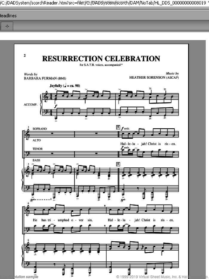 Resurrection Celebration sheet music for choir (SATB: soprano, alto, tenor, bass) by Heather Sorenson and Barbara Furman, intermediate skill level