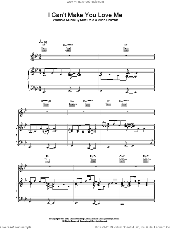 I Can't Make You Love Me sheet music for voice, piano or guitar by Bonnie Raitt, George Michael, Allen Shamblin and Mike Reid, intermediate skill level