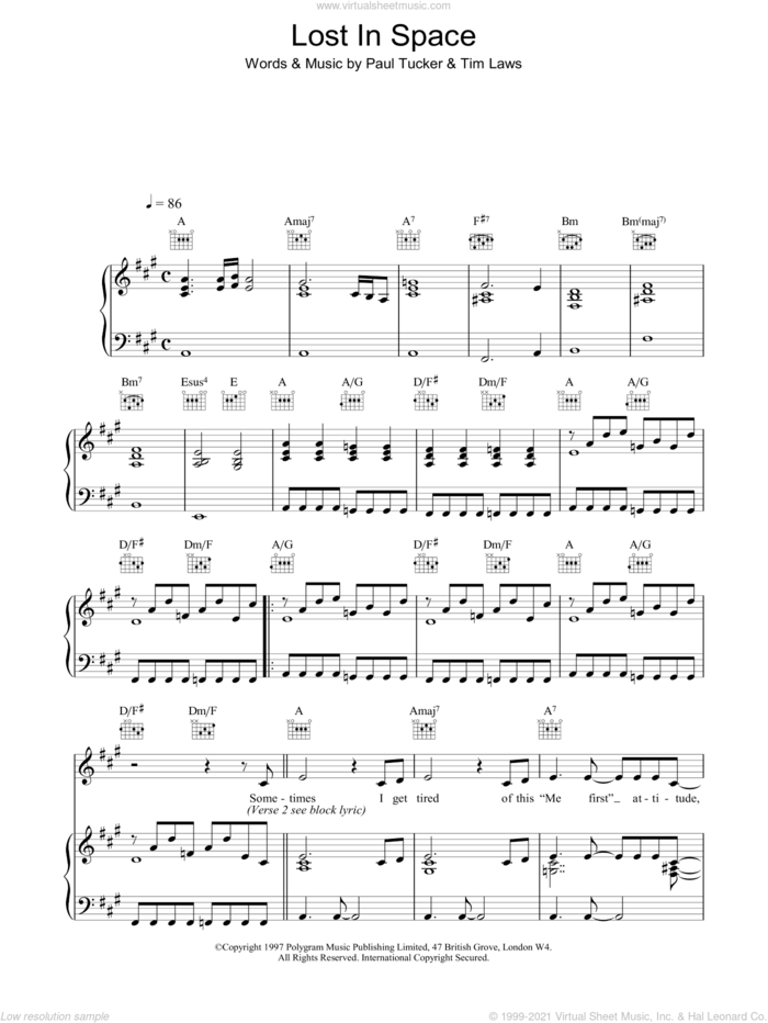 Lost In Space sheet music for voice, piano or guitar by Lighthouse Family, Paul Tucker and Tim Laws, intermediate skill level