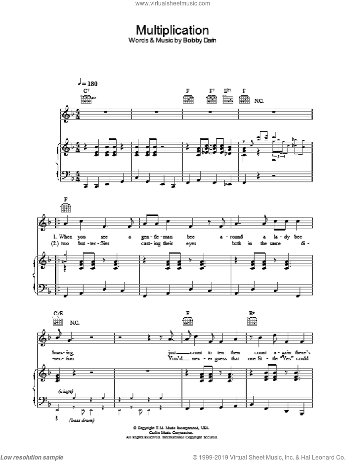 Multiplication sheet music for voice, piano or guitar by Bobby Darin, intermediate skill level