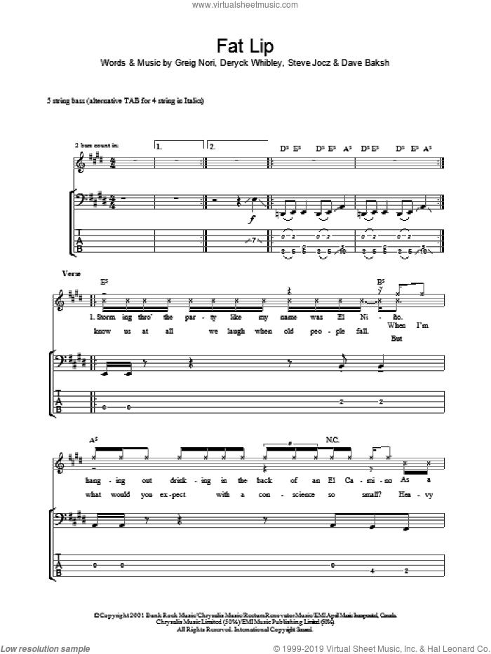 Fat Lip sheet music for bass (tablature) (bass guitar) by Sum 41, Dave Baksh, Deryck Whibley, Greig Nori and Steve Jocz, intermediate skill level