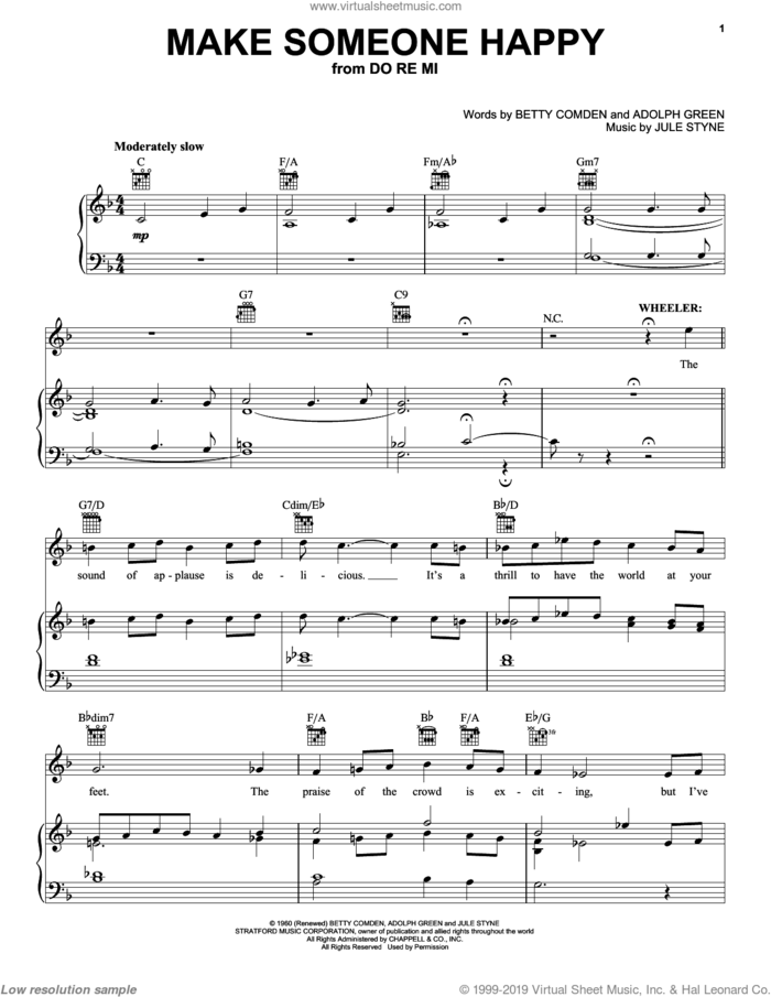 Make Someone Happy sheet music for voice, piano or guitar by Tony Bennett, Jimmy Duarante, Adolph Green, Betty Comden and Jule Styne, intermediate skill level