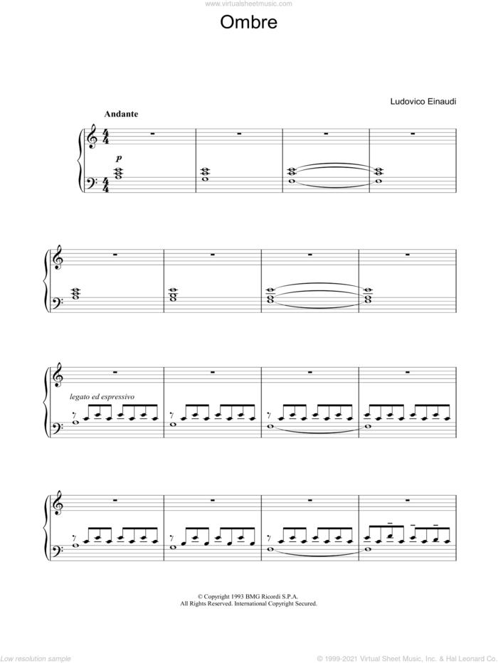 Ombre sheet music for piano solo by Ludovico Einaudi, classical score, intermediate skill level