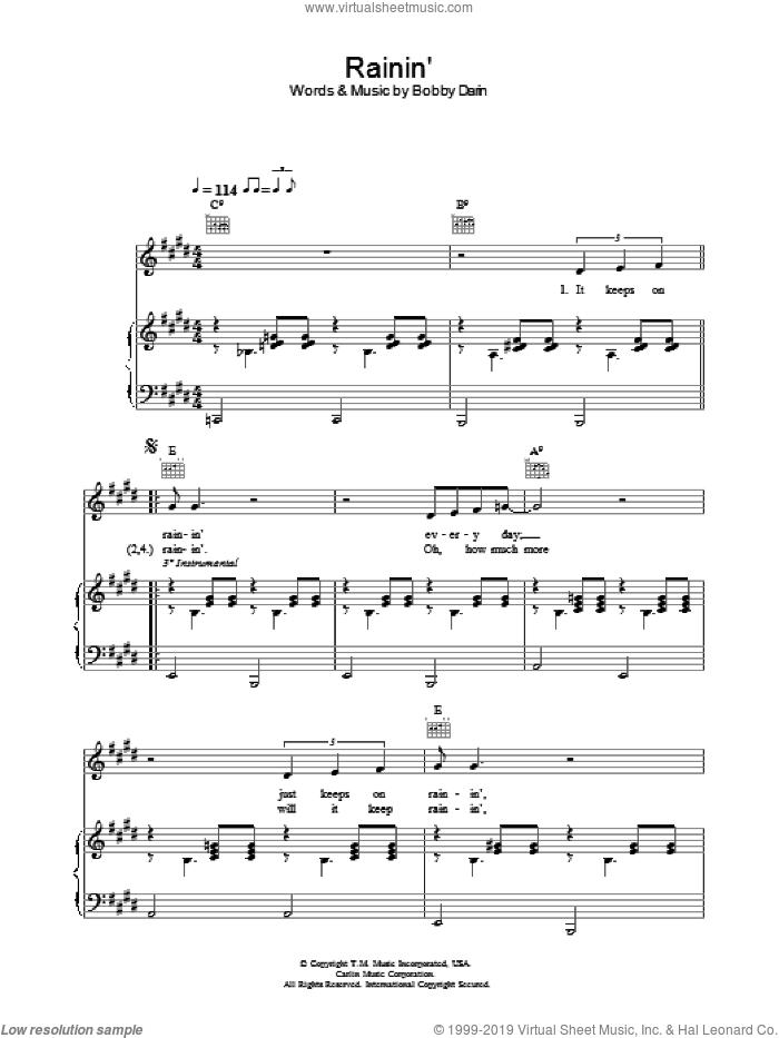 Rainin' sheet music for voice, piano or guitar by Bobby Darin, intermediate skill level