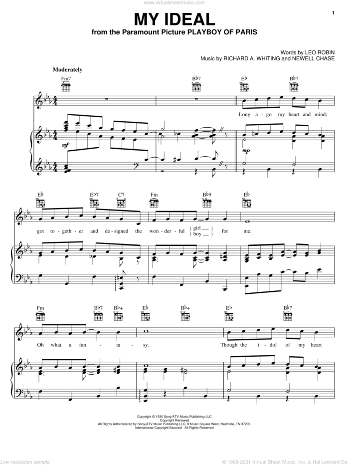 My Ideal sheet music for voice, piano or guitar by John Coltrane, Leo Robin, Newell Chase and Richard A. Whiting, intermediate skill level