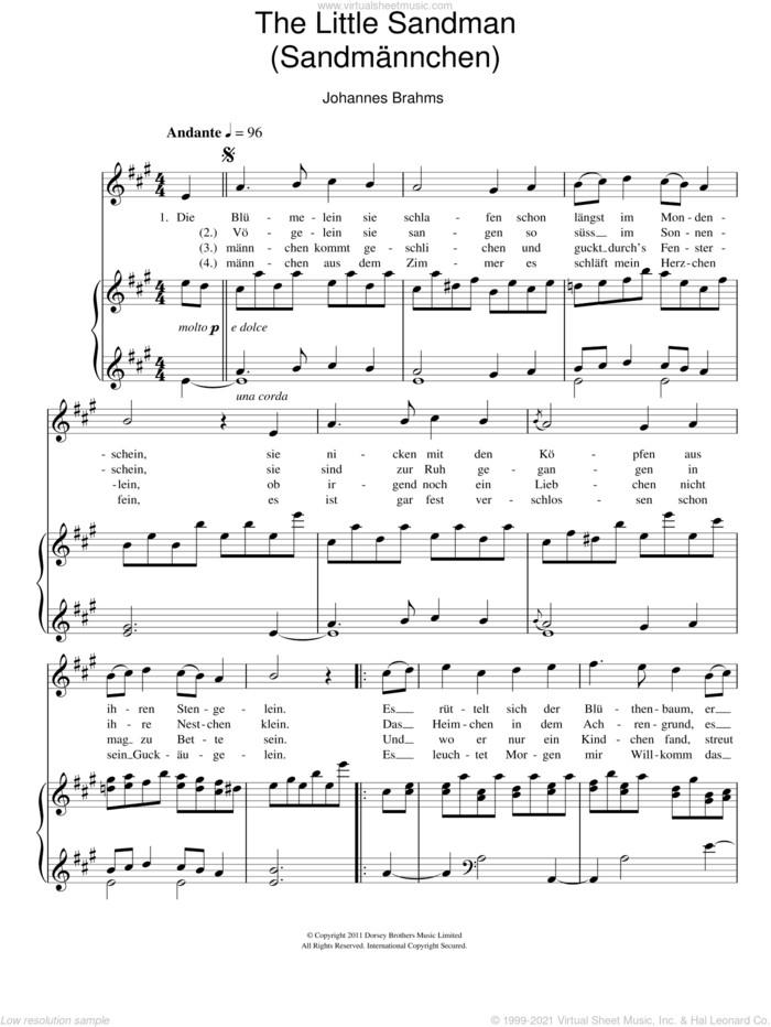 Sandmannchen (The Little Sandman) sheet music for voice and piano by Johannes Brahms, classical score, intermediate skill level