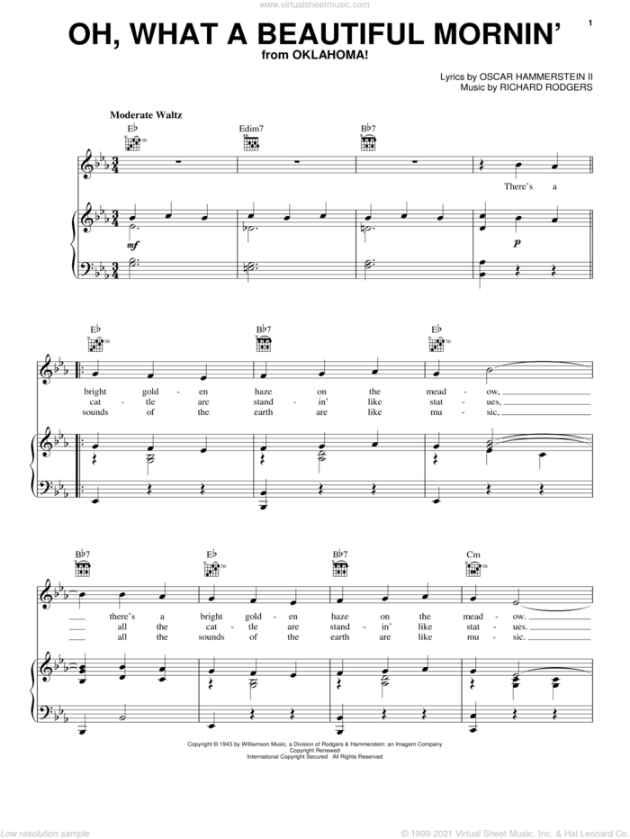 Oh, What A Beautiful Mornin' (from Oklahoma!) sheet music for voice, piano or guitar by Rodgers & Hammerstein, Oklahoma! (Musical), Oscar II Hammerstein and Richard Rodgers, intermediate skill level