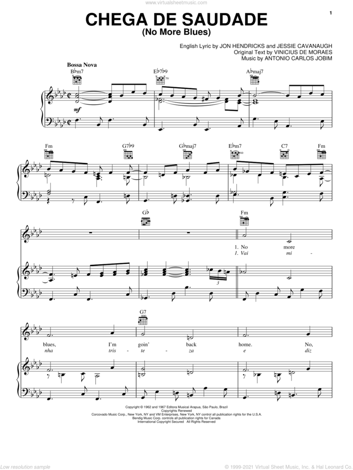 Chega De Saudade (No More Blues) sheet music for voice, piano or guitar by Vinicius de Moraes, Antonio Carlos Jobim, Jessie Cavanaugh and Jon Hendricks, intermediate skill level