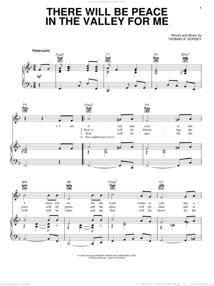 (There'll Be) Peace In The Valley (For Me) sheet music for voice, piano or guitar by Elvis Presley and Tommy Dorsey, intermediate skill level