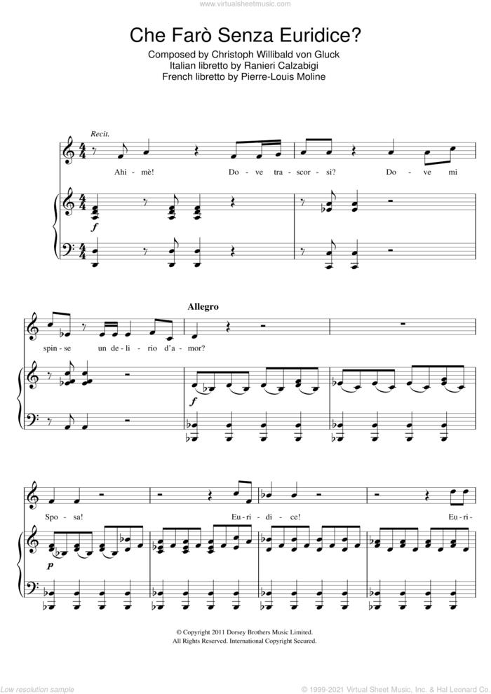 Che Faro Senza Euridice (from Orfeo ed Euridice) sheet music for voice and piano by Christoph Willibald Gluck, Pierre-Louis Moline and Ranieri Calzabigi, classical score, intermediate skill level