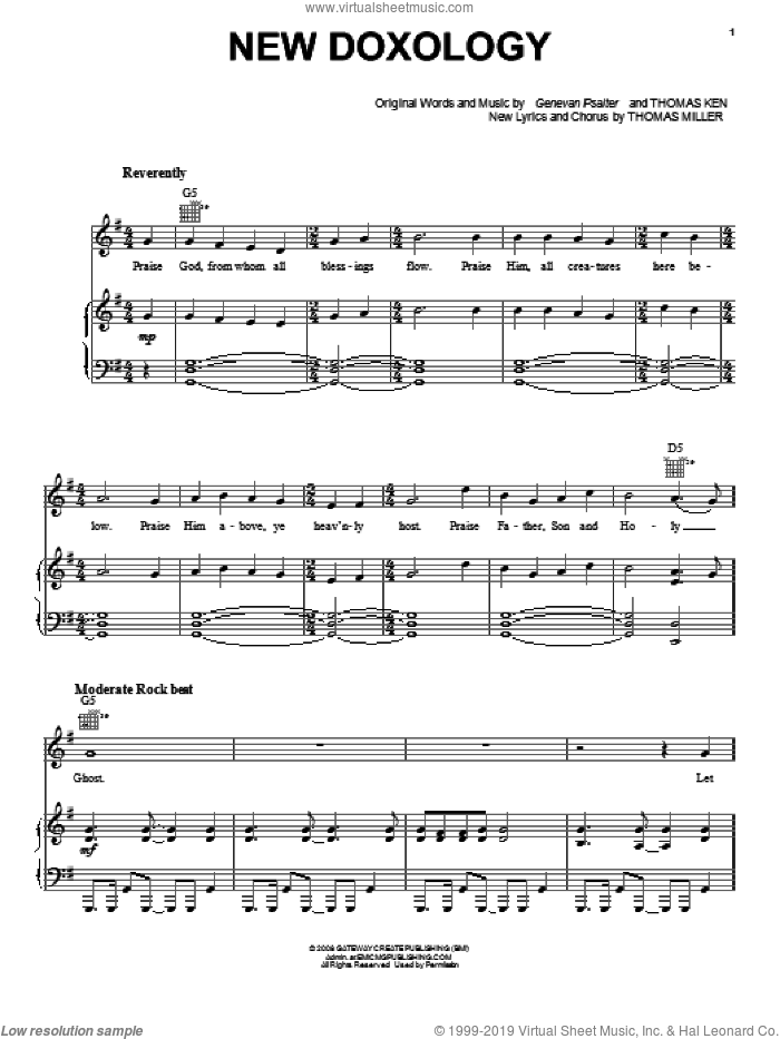New Doxology sheet music for voice, piano or guitar by Thomas Miller, Genevan Psalter and Thomas Ken, intermediate skill level