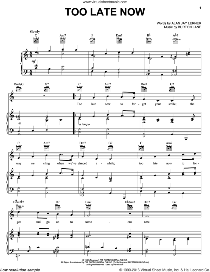 Too Late Now sheet music for voice, piano or guitar by Judy Garland, Peggy Lee, Tommy Flanagan, Alan Jay Lerner and Burton Lane, intermediate skill level