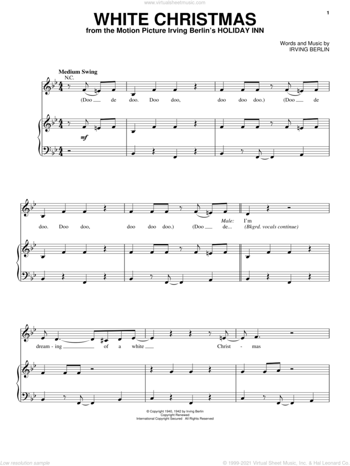 White Christmas sheet music for voice and piano by Michael Buble and Irving Berlin, intermediate skill level