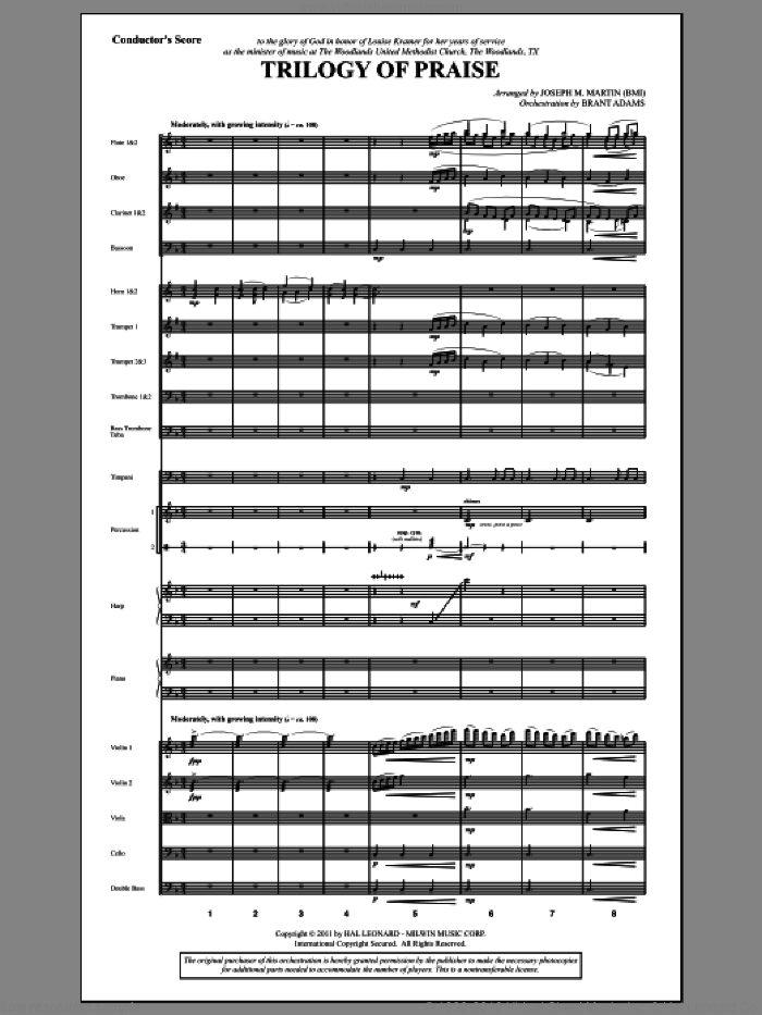 Trilogy Of Praise (complete set of parts) sheet music for orchestra/band (Orchestration) by Joseph M. Martin, intermediate skill level