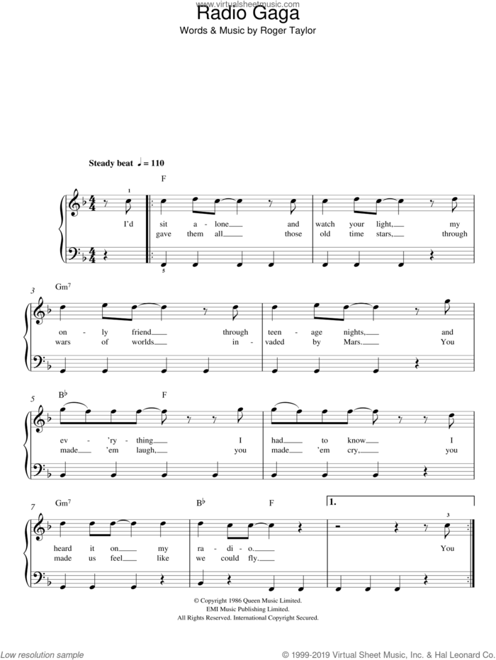Radio Ga Ga sheet music for piano solo by Queen and Roger Taylor, easy skill level