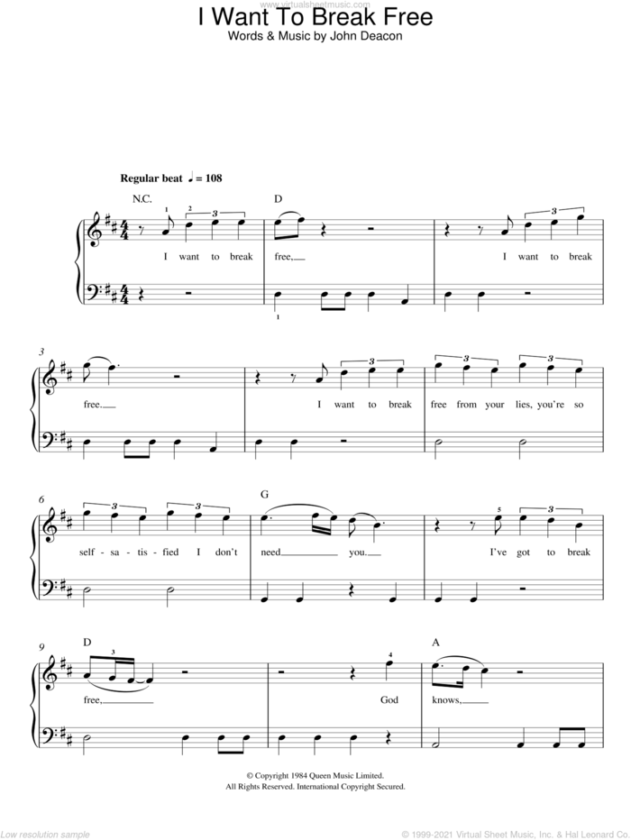 I Want To Break Free sheet music for piano solo by Queen and John Deacon, easy skill level