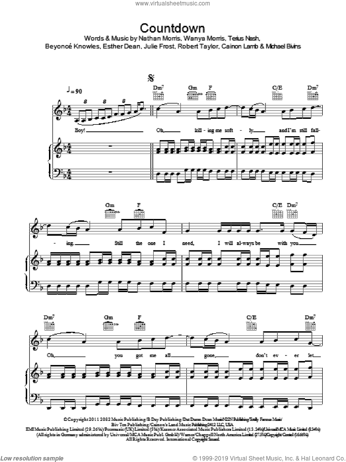 Countdown sheet music for voice, piano or guitar by Beyonce, Beyonce Knowles, Cainon Lamb, Ester Dean, Julie Frost, Michael Bivins, Nathan Morris, Robert Shea Taylor, Terius Nash and Wanya Morris, intermediate skill level