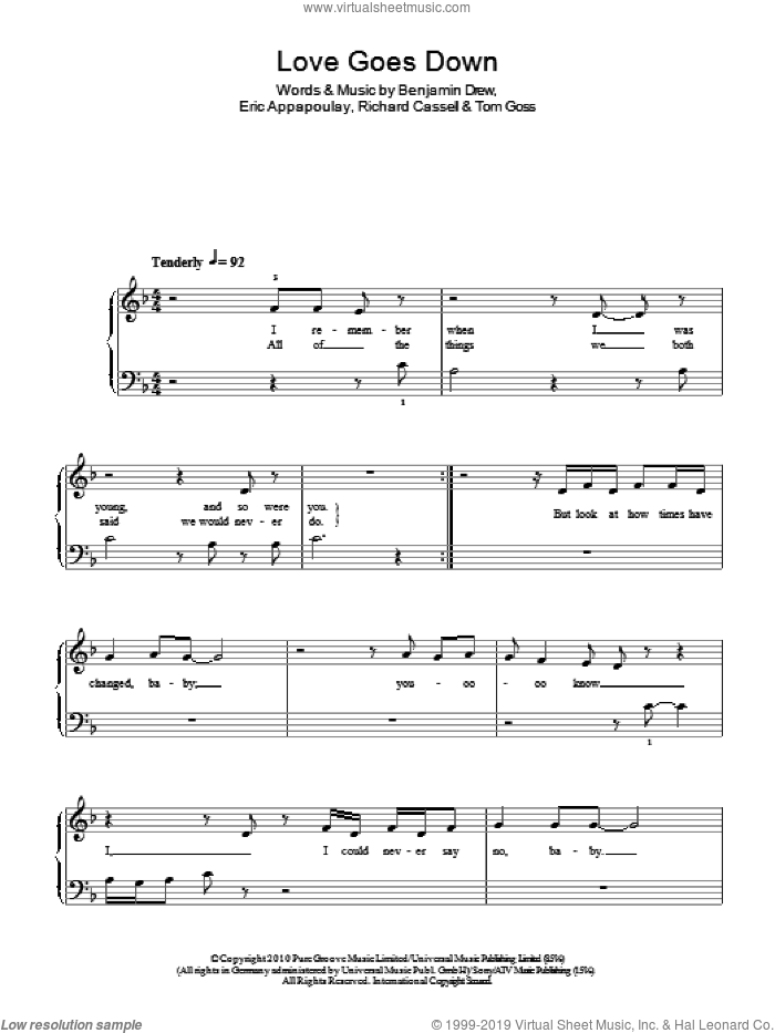 Love Goes Down sheet music for piano solo by Plan B, Benjamin Drew, Eric Appapoulay, Richard Cassell and Tom Goss, easy skill level