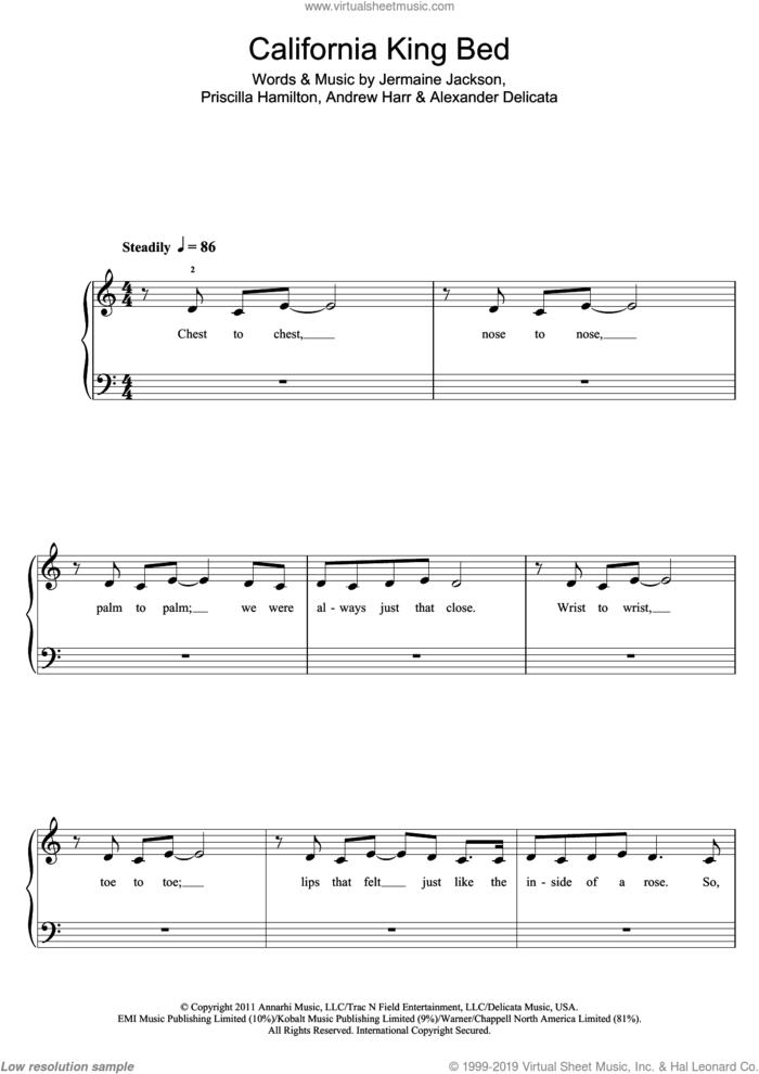 California King Bed sheet music for piano solo (5-fingers) by Rihanna, Alexander Delicata, Andrew Harr, Jermaine Jackson and Priscilla Hamilton, beginner piano (5-fingers)