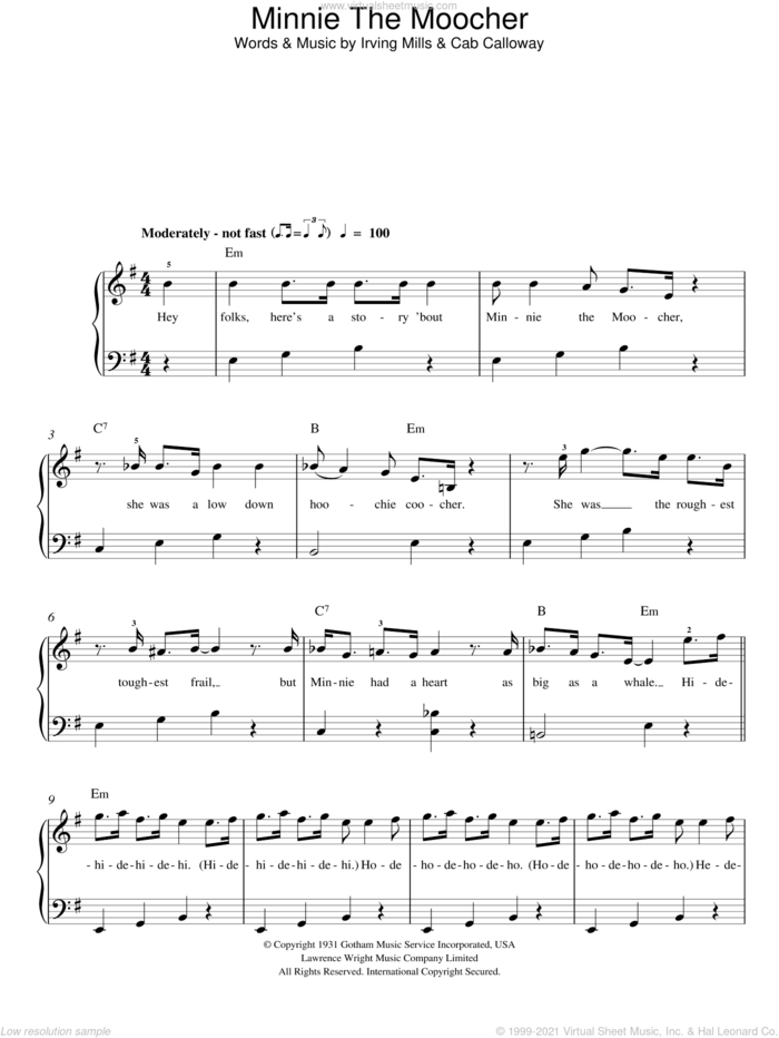 Minnie The Moocher sheet music for piano solo by Cab Calloway and Irving Mills, easy skill level