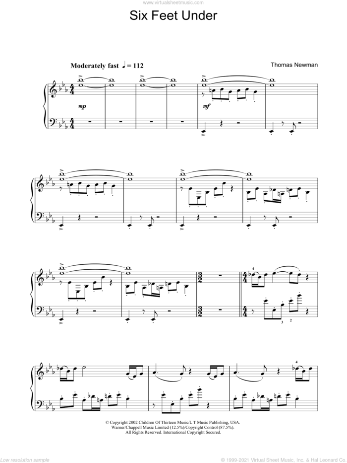 Six Feet Under (Theme) sheet music for piano solo by Thomas Newman, intermediate skill level