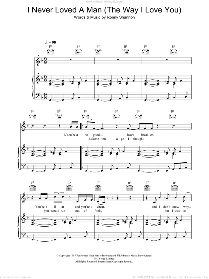 I Never Loved A Man (The Way I Love You) sheet music for voice, piano or guitar by Aretha Franklin and Ronnie Shannon, intermediate skill level