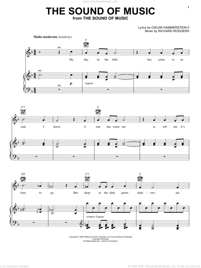 The Sound Of Music (from The Sound of Music) sheet music for voice, piano or guitar by Rodgers & Hammerstein, The Sound Of Music (Musical), Oscar II Hammerstein and Richard Rodgers, intermediate skill level
