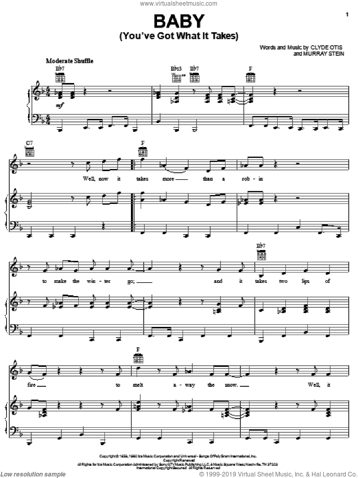 Baby (You've Got What It Takes) sheet music for voice, piano or guitar by Dinah Washington, Brook Benton, Clyde Otis and Murray Stein, intermediate skill level