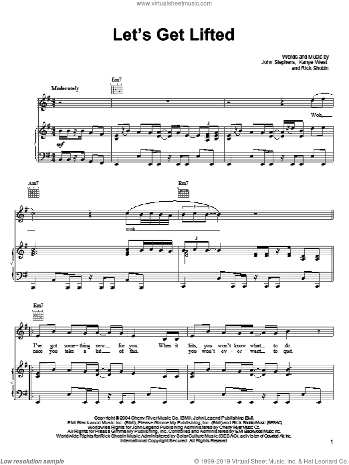 Let's Get Lifted sheet music for voice, piano or guitar by John Legend, John Stephens, Kanye West and Rick Shobin, intermediate skill level