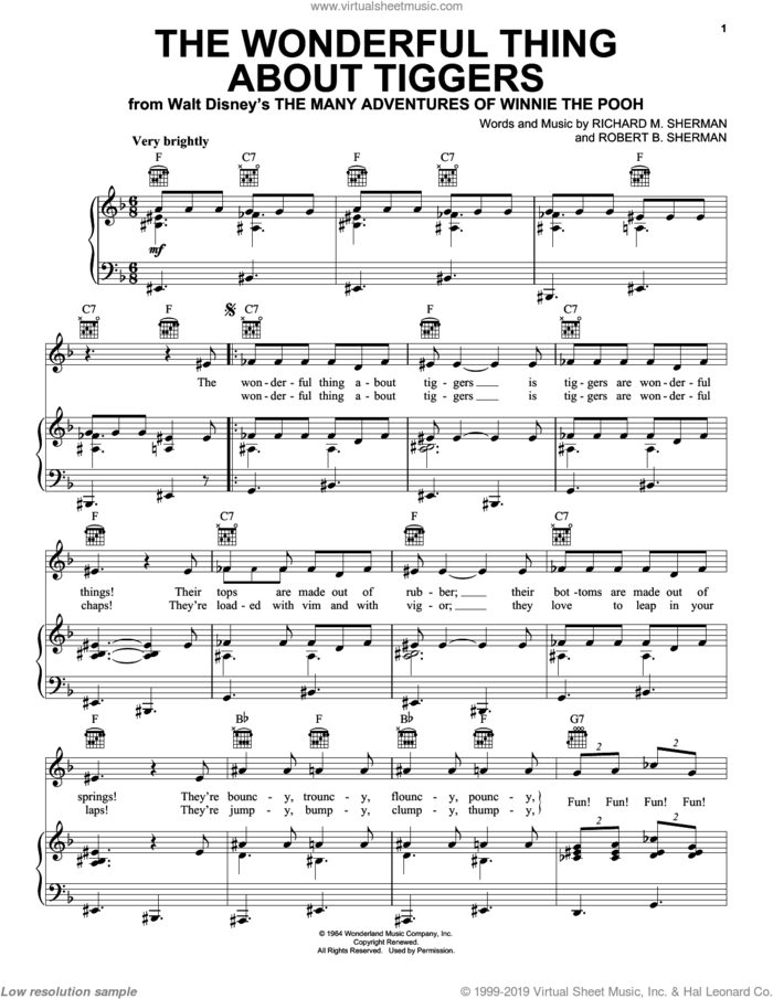 The Wonderful Thing About Tiggers sheet music for voice, piano or guitar by Sherman Brothers, Richard M. Sherman and Robert B. Sherman, intermediate skill level