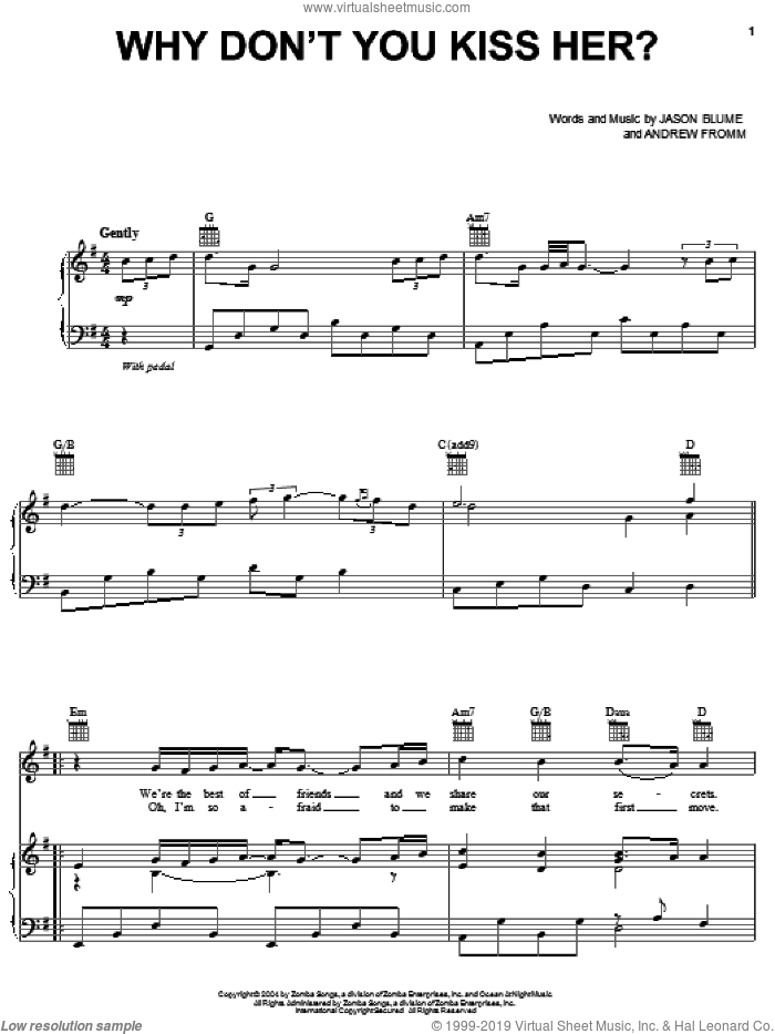Why Don't You Kiss Her? sheet music for voice, piano or guitar by Jesse McCartney, Andrew Fromm and Jason Blume, intermediate skill level
