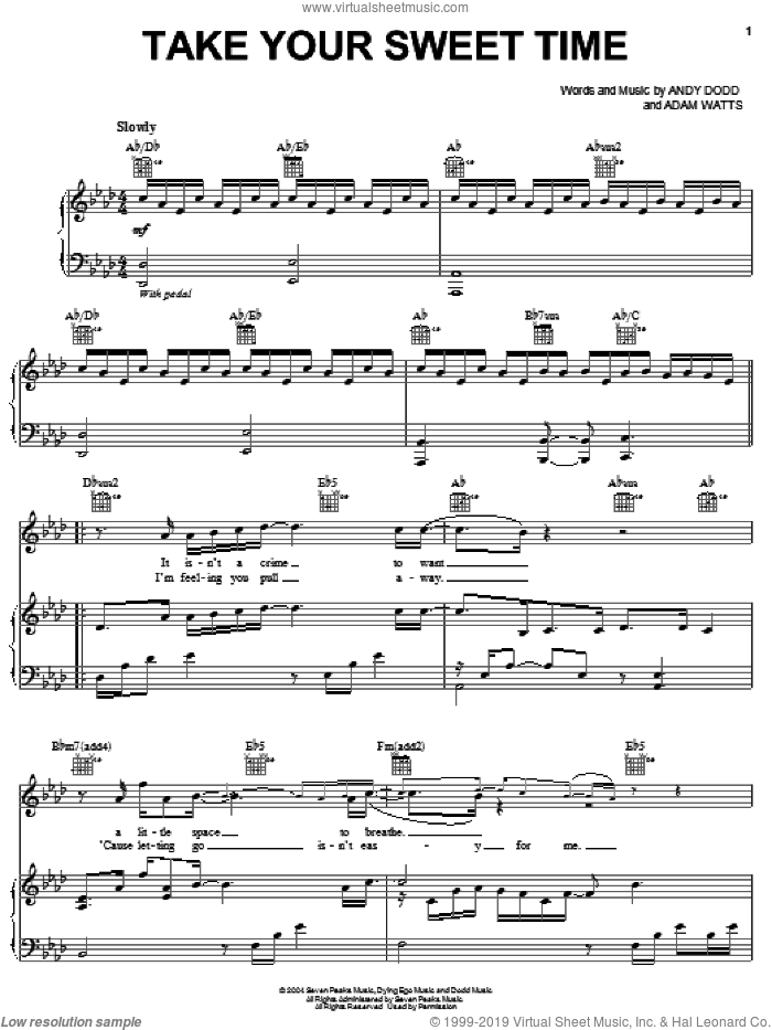 Take Your Sweet Time sheet music for voice, piano or guitar by Jesse McCartney, Adam Watts and Andy Dodd, intermediate skill level