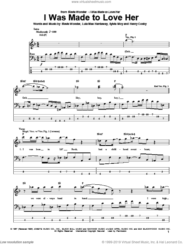I Was Made To Love Her sheet music for bass (tablature) (bass guitar) by Stevie Wonder, Henry Cosby, Lula Mae Hardaway and Sylvia Moy, intermediate skill level