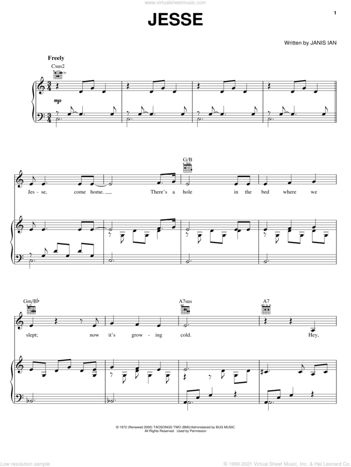Jesse sheet music for voice, piano or guitar by Janis Ian and Joan Baez, intermediate skill level