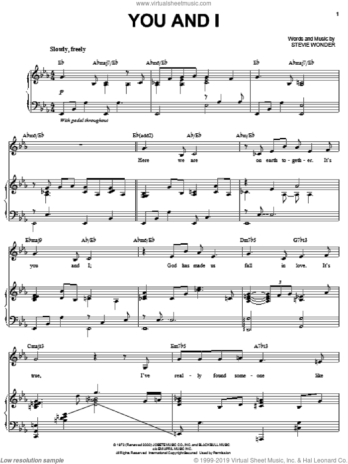 You And I sheet music for voice and piano by Michael Buble and Stevie Wonder, wedding score, intermediate skill level