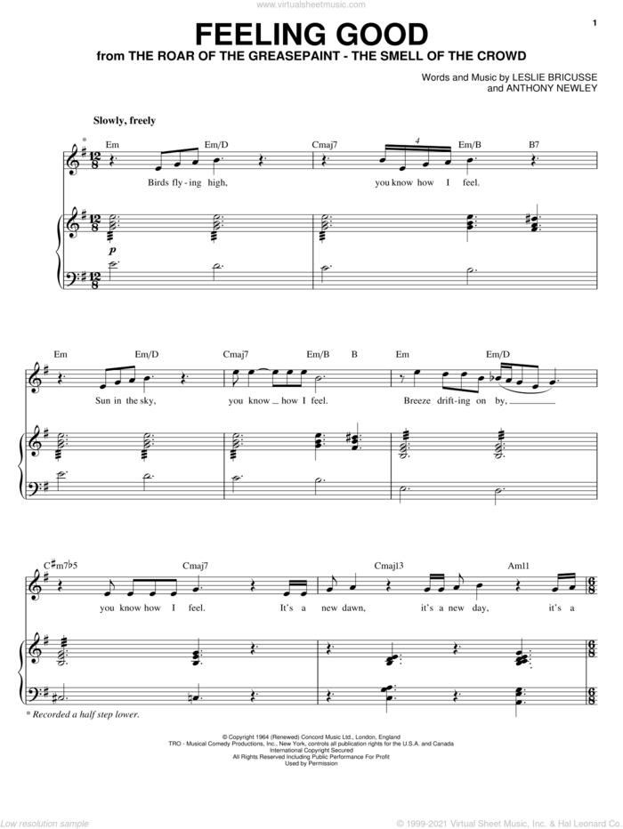 Feeling Good sheet music for voice and piano by Michael Buble, Nina Simone, Anthony Newley and Leslie Bricusse, intermediate skill level