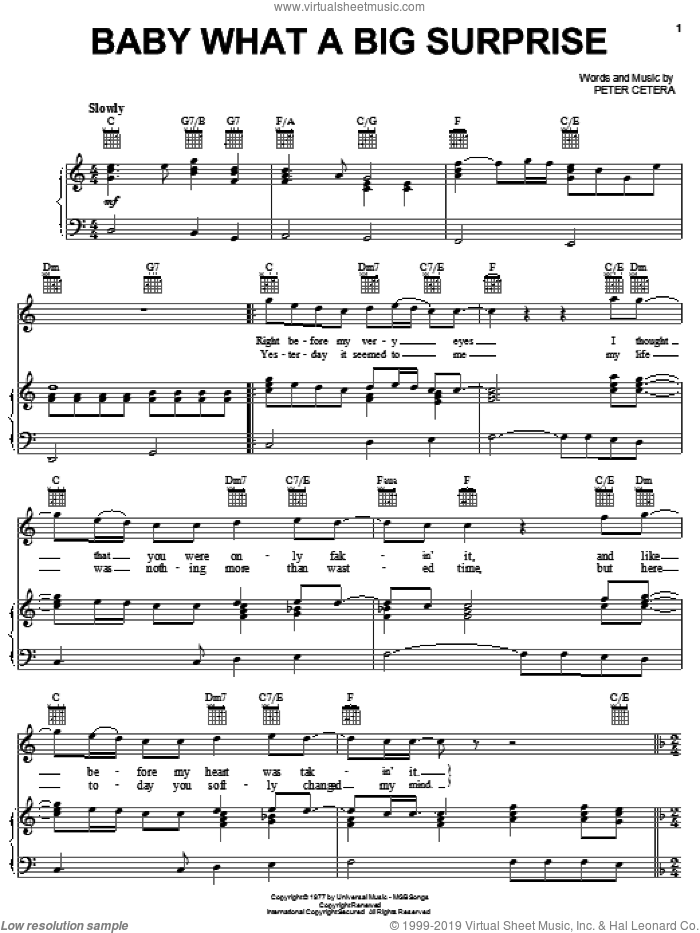 Baby What A Big Surprise sheet music for voice, piano or guitar by Chicago and Peter Cetera, intermediate skill level