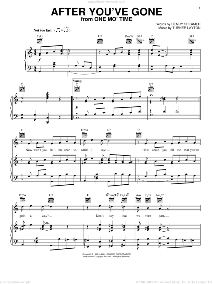 After You've Gone sheet music for voice, piano or guitar by Sophie Tucker, Henry Creamer and Turner Layton, intermediate skill level