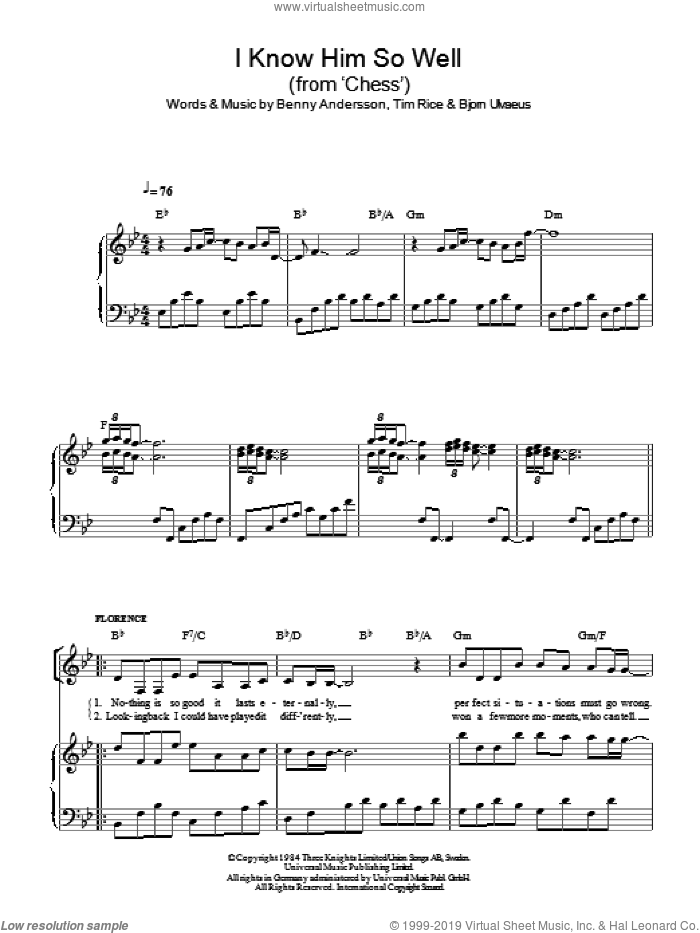 I Know Him So Well (from Chess) sheet music for voice, piano or guitar by Benny Andersson, Chess (Musical), Benny Andersson and Tim Rice and Bjorn Ulvaeus, Bjorn Ulvaeus and Tim Rice, intermediate skill level