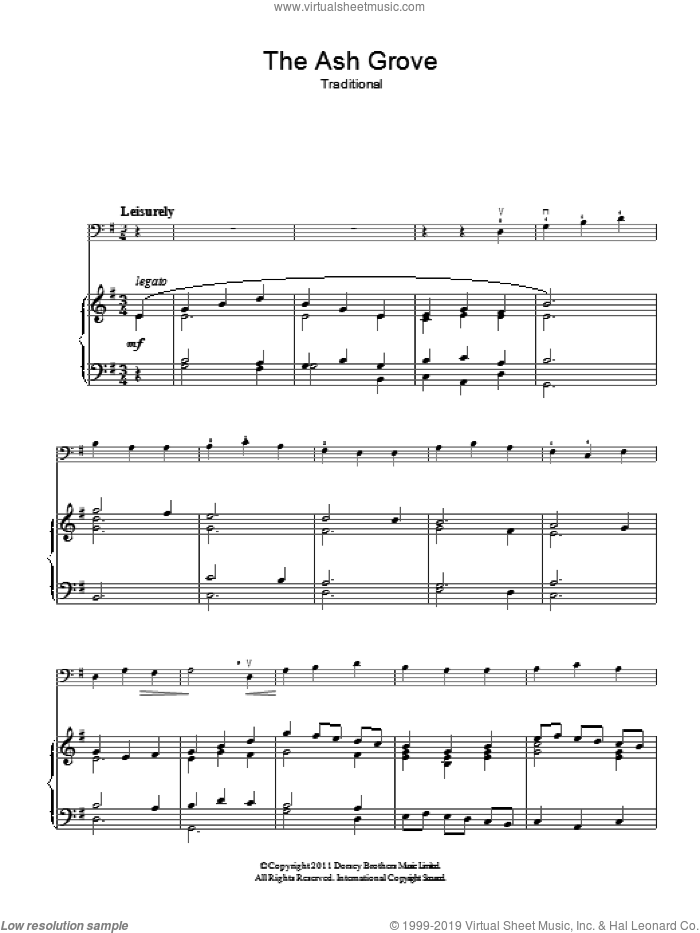 The Ash Grove sheet music for voice, piano or guitar, intermediate skill level