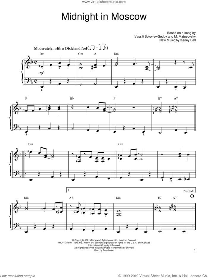 Midnight In Moscow, (easy) sheet music for piano solo by Kenny Ball, easy skill level