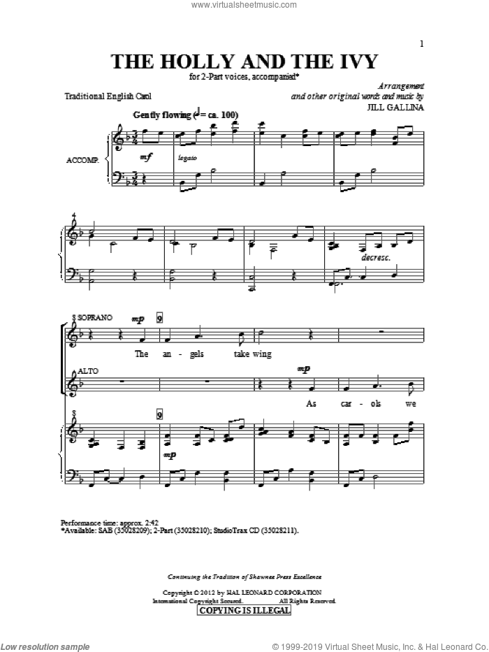 The Holly And The Ivy sheet music for choir (2-Part) by Jill Gallina and Miscellaneous, intermediate duet