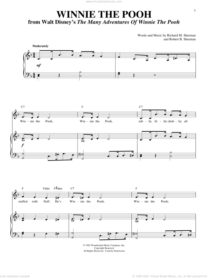 Winnie The Pooh sheet music for voice and piano by Sherman Brothers, Richard M. Sherman and Robert B. Sherman, intermediate skill level