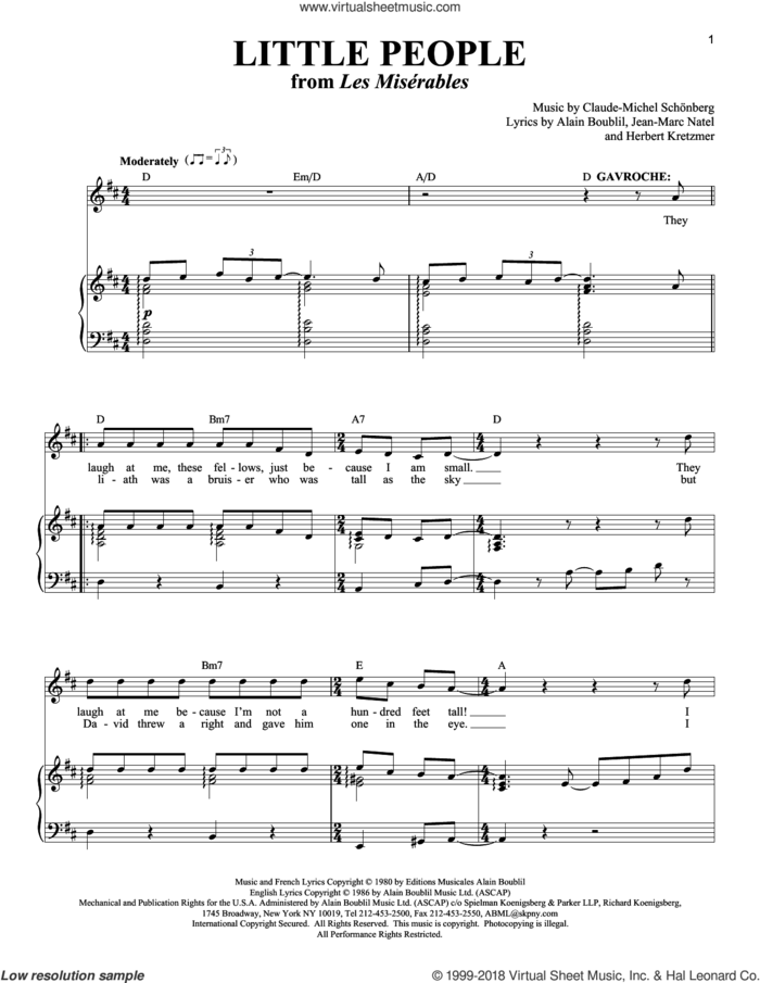 Little People sheet music for voice and piano by Boublil and Schonberg, Les Miserables (Musical), Alain Boublil, Claude-Michel Schonberg, Herbert Kretzmer and Jean-Marc Natel, intermediate skill level