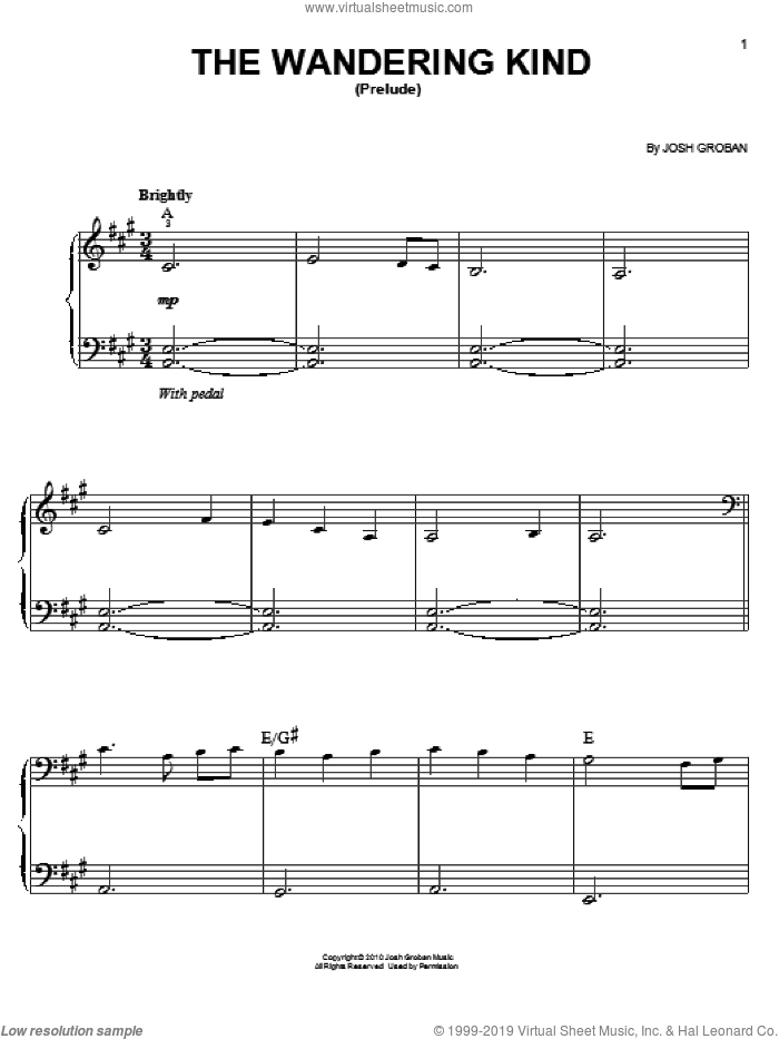The Wandering Kind (Prelude) sheet music for piano solo by Josh Groban, easy skill level